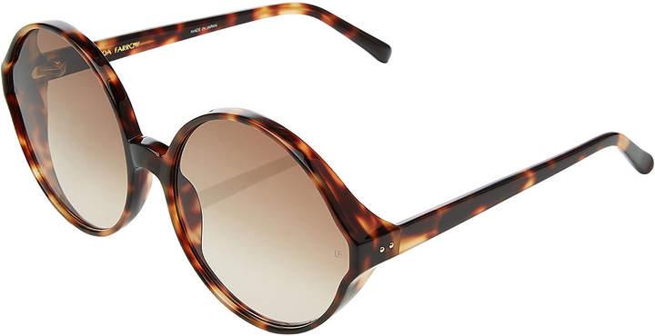 Linda Farrow Oversize Tortoiseshell Print Sunglasses