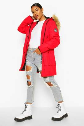 boohoo Belted Parka With Faux Fur Trim Hood