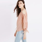 Madewell Cold-Shoulder Top in Red Stripe