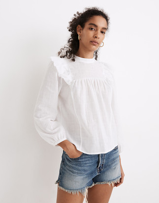 Madewell Ruffle-Yoke Puff-Sleeve Top