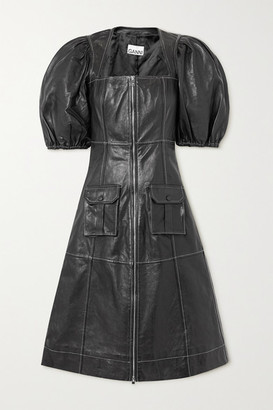Ganni Zip-detailed Leather Dress - Black