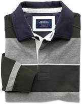 Charles Tyrwhitt Charcoal, Olive and White Stripe Long Sleeve Cotton Rugby Shirt Size XS