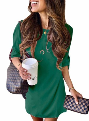CORAFRITZ Women's Classic Solid Color Mini Dress Crew Neck 3/4 Sleeve Casual Slim Fit Pullover Dress Green