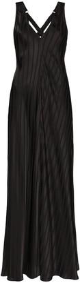 Lee Mathews Striped Jacquard Maxi Dress