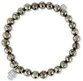 Sydney Evan Jewelry Champagne Pyrite Bead Bracelet w/14K Gold Diamond Hamsa Charm