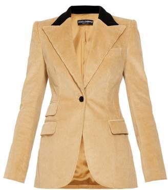 Dolce & Gabbana Single Breasted Cotton Blend Corduroy Blazer - Womens - Beige