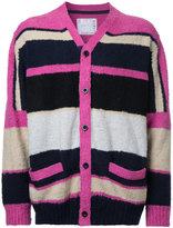 Sacai colour block cardigan - men - Cotton - 3