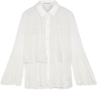 Alice + Olivia Kartwright Embroidered Tulle-trimmed Tiered Pleated Georgette Blouse