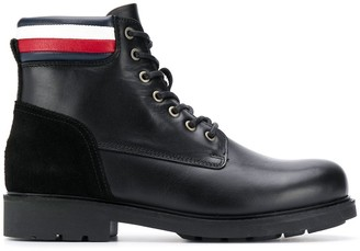 Tommy Hilfiger Stripe Detail Lace-Up Boots