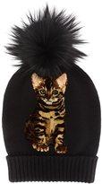 Dolce & Gabbana cat pompom beanie - women - Fox Fur/Cashmere - One Size