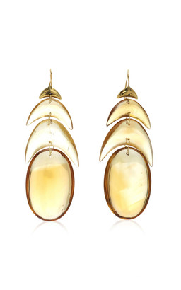 Ten Thousand Things Hand Cut Natural Citrine Peacock Feather Earring