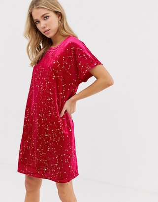Glamorous velvet t-shirt dress-Pink