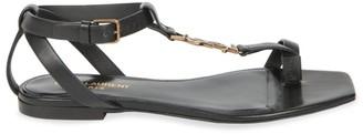 Saint Laurent Cassandra Leather Toe-Loop Sandals