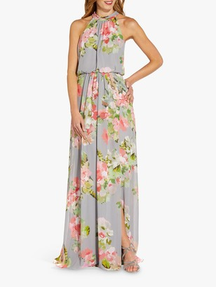 Adrianna Papell Floral Chiffon Gown, Silver/Multi