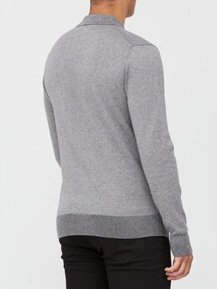 Calvin Klein Cotton Silk Long Sleeve Polo Shirt - Grey