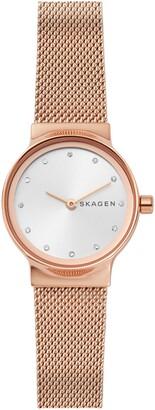 Skagen Freja Crystal Accent Mesh Strap Watch, 26mm
