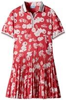 Lanvin Kids - Short Sleeve Floral Print Polo Dress with Pleat Skirt Girl's Dress
