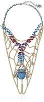 "Betsey Johnson Spider Lux"" Pave Spider Web Bib Necklace"