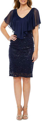 Blu Sage Short Sleeve Lace Cape Sheath Dress