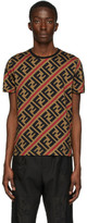 Fendi Beige and Red All Over FF T-Shirt