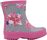 Joules Little Joule Baby Stripe Floral Wellington Boots, Pink