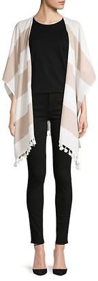 Ava & Aiden Tassel-Trim Striped Cotton Open-Front Poncho