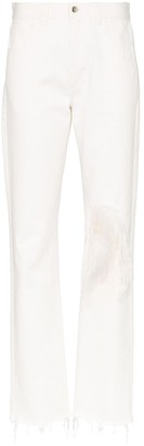 Marques Almeida Straight-Leg Ripped Feather Jeans