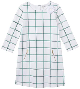Janie and Jack Plaid Dress (Toddler/Little Kids/Big Kids) (White) Girl's Clothing