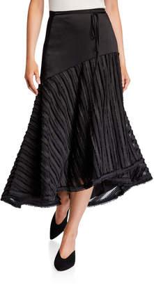 Alexis Danos Asymmetric Satin Midi Skirt
