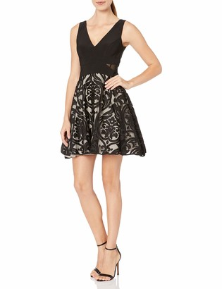 Xscape Evenings Women's Short Flocked Party Skirt W/Ity Top