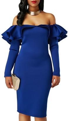 z-one Women New Ruffle Off Shoulder Long Sleeve Bodycon Party Dress (M