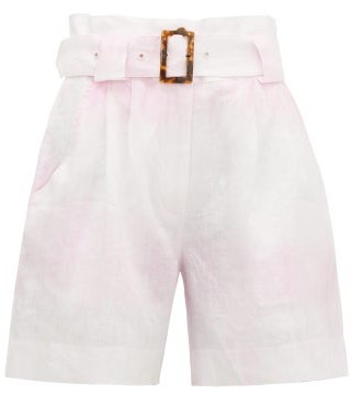 Solid & Striped Paperbag-waist Tie-dye Linen Shorts - Womens - Pink White