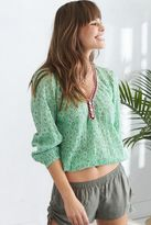 aerie Embroidered Trim Peasant Top