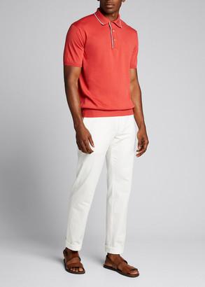Loro Piana Men's Contrast-Tipped Pocket Polo Shirt