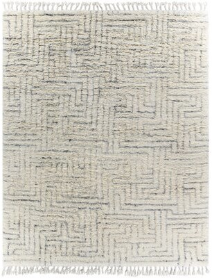 Surya Camille Geometric Hand Knotted Wool Cream Area Rug Rug Size: Rectangle 2' x 3'