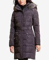 Lauren Ralph Lauren Faux-Fur-Trim Belted Down Coat