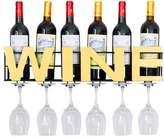 WAN SAN QIAN- Wall Mounted Metal Wine Rack 6 Long Stem Glass Holder & Wine Cork Storage Wine rack
