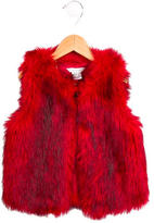 Little Marc Jacobs Girls Faux Fur V-Neck Vest