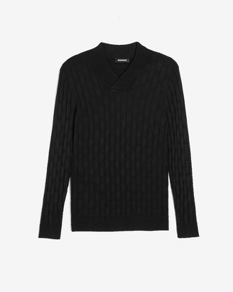 Express Black Tile Stitched Sweater