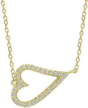 Giani Bernini Cubic Zirconia Side Heart Pendant Necklace in 18k Gold-Plated Sterling Silver, Created For Macy's