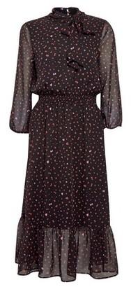 Dorothy Perkins Womens Black Heart Print Pussybow Chiffon Midi Dress