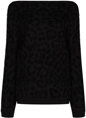 Valentino Off-Shoulder Leopard Knit Jumper
