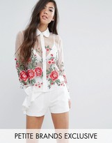 Fashion Union Petite Embroidered Floral Shirt