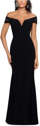 Xscape Evenings Off-The-Shoulder Illusion-Sleeve Gown