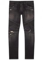 Balmain Black Distressed Slim-leg Biker Jeans