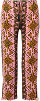 Figue Goa Cropped Printed Silk Crepe De Chine Straight-leg Pants - Pink
