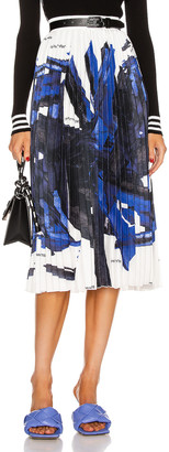 Off-White Blue Brush Stroke Plisse Skirt in White & Blue | FWRD