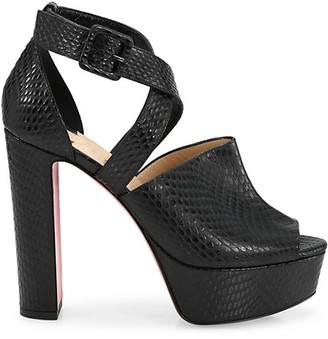 Christian Louboutin Bingirl Snakeskin-Embossed Leather Platform Sandals