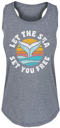 Instant Message Women's Women's Tank Tops HEATHER - Heather Gray 'Let The Sea Set You Free' Racerback Tank - Women