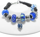Swarovski Golden Moon Women's Bracelets Blue - Blue Swirl Charm & Bead Leather Bracelet With Crystals